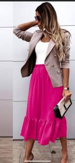 Γυναικεία φούστα με λάστιχο στη μέση 5625 φούξια