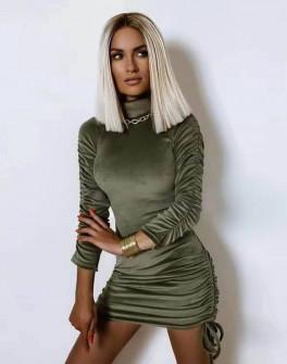 Γυναικείο βελουτέ φόρεμα με σούρα στο μανίκι 5995  σκούρο πράσινο