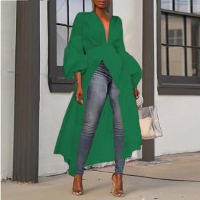 Γυναικείο ασύμμετρο μπλουζοφόρεμα 3222 πράσινο