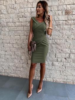 Γυναικείο εφαρμοστό φόρεμα 5231 σκούρο πράσινο