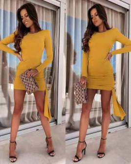 Γυναικείο εφαρμοστό φόρεμα 8058 κίτρινο