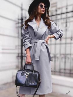 Γυναικείο παλτό με φόδρα και ζώνη 5979 γκρι