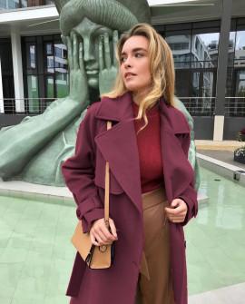 Γυναικείο παλτό με φόδρα 8719 μπορντό
