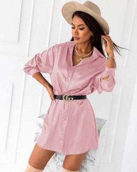 Γυναικείο σατέν πουκάμισο 6025 ροζ