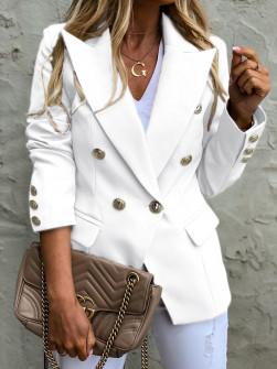 Γυναικείο σακάκι με χρυσά κουμπιά 3909 άσπρο