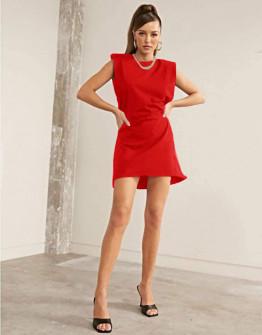 Γυναικείο φόρεμα με βάτες στους ώμους 5151 κόκκινο