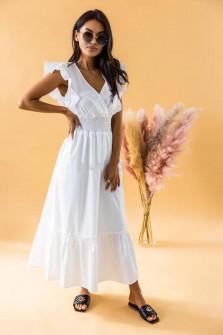 Γυναικείο μακρύ μονόχρωμο φόρεμα 8151 άσπρο