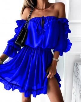 Γυναικείο έξωμο φόρεμα 3740 μπλε