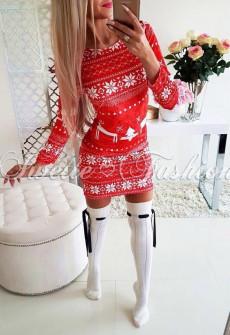 Χριστουγεννιάτικο εφαρμοστό φόρεμα 7118 κόκκινο