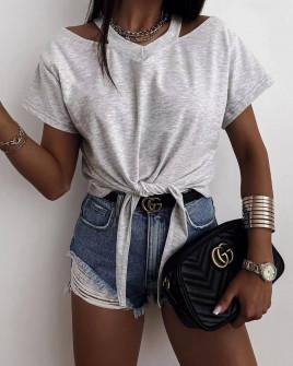 Γυναικεία μπλούζα με δέσιμο 2978  γκρι