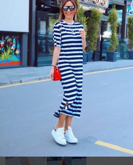 Γυναικείο μακρύ φόρεμα με κοντό μανίκι 5141 σκούρο μπλε
