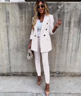 Γυναικείο σετ σακάκι και παντελόνι 5927 άσπρο