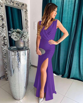 Дамска дълга рокля с цепка 5205 лилава