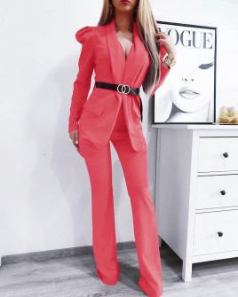 Γυναικείο σετ με σακάκι και παντελόνι 9808 κοραλί