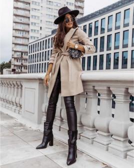 Γυναικείο παλτό με φόδρα και ζώνη 5334 μπεζ
