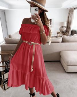 Γυναικείο φόρεμα με ζώνη 5695 κοραλί