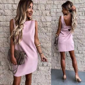 Γυναικείο απλό φόρεμα 5222 ροζ