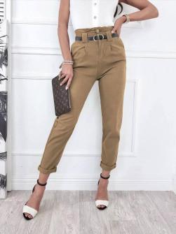 Γυναικείο παντελόνι με ζώνη 18158 καμηλό