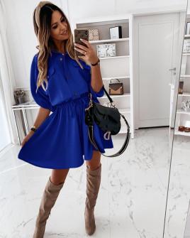 Γυναικείο φόρεμα με λάστιχο στη μέση 5324 μπλε
