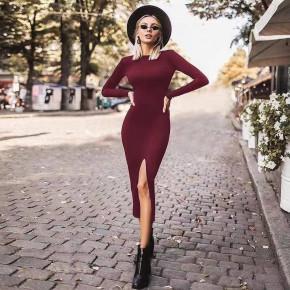 Γυναικείο εφαρμοστό φόρεμα μίντι 5512 μπορντό