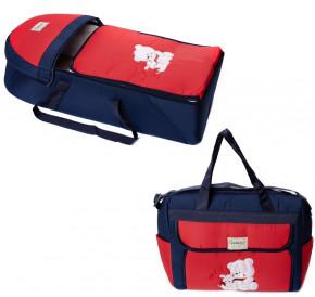 Σετ πορτ μπεμπέ και τσάντα 00453 σκούρο μπλε/κόκκινο