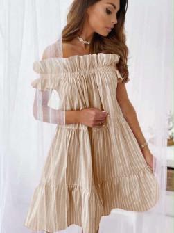 Γυναικείο έξωμο φόρεμα 2441 μπεζ