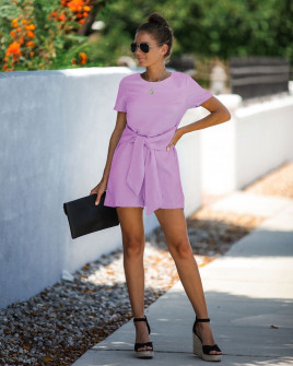 Γυναικεία ολόσωμη φόρμα με ζώνη κορδέλα 5085 ροζ
