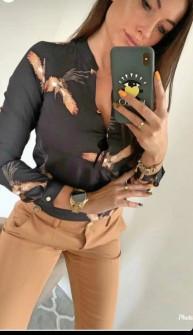 Γυναικείο πουκάμισο με print 3227 μαύρο
