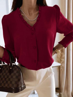 Γυναικείο μοντέρνο πουκάμισο 5993 μπορντό