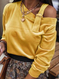 Εντυπωσιακή μπλούζα βελουτέ 5388 μουσταρδί