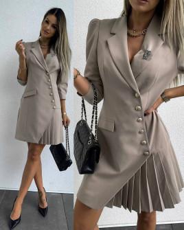 Дамска стилна рокля с копчета 3818 капучино