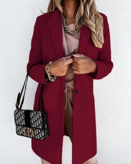 Γυναικείο κομψό παλτό με φόδρα 5332 μπορντό