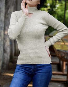 Γυναικεία μπλούζα ημιζιβάγκο 81025 μπεζ