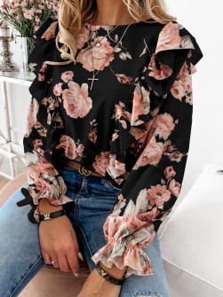 Дамска блуза на цветя 8570 черна