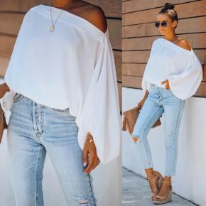 Γυναικεία μπλούζα με φουσκωτό μανίκι 2408 άσπρη