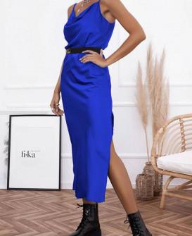 Γυναικείο φόρεμα σατέν 21070 μπλε