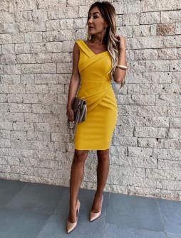 Γυναικείο εφαρμοστό φόρεμα 5231 κίτρινο