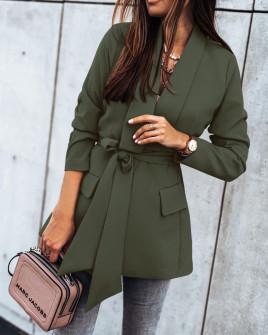 Γυναικείο σακάκι με φόδρα και ζώνη 5339 σκούρο πράσινο