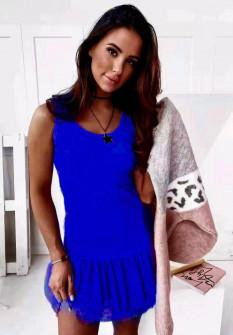 Γυναικείο φόρεμα με δαντέλα 3506 μπλε