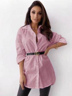 Γυναικείο πουκάμισο με ζώνη 5481 ροζ
