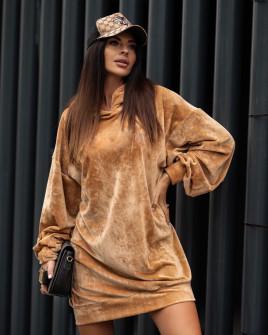 Γυναικείο μπλουζοφόρεμα βελουτέ 3305 καμηλό
