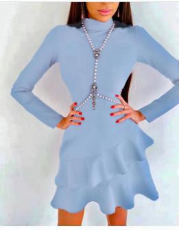 Γυναικείο κομψό φόρεμα 21655 γαλάζιο