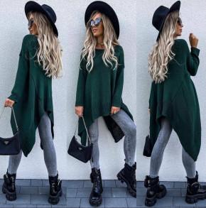 Γυναικείο πλεκτό ασύμμετρο μπλουζοφόρεμα 008591 πράσινο