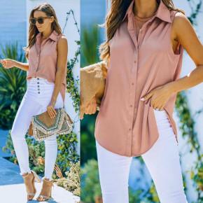 Γυναικείο αμάνικο πουκάμισο 21157 πούδρα