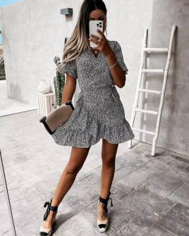 Γυναικείο φόρεμα κρουαζέ 21321 μαύρο