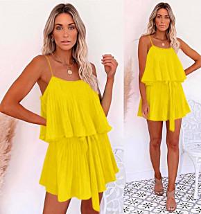 Дамска рокля солей 5199 жълта