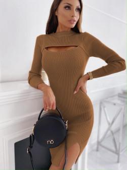 Εφαρμοστό φόρεμα 26885 καμηλό