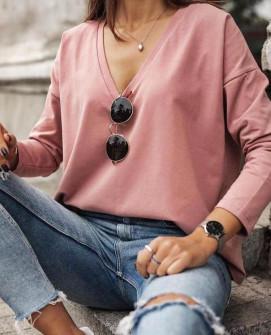 Γυναικεία μπλούζα με βαθύ ντεκολτέ 1930 ροζ