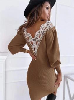 Γυναικείο φόρεμα με εντυπωσιακή πλάτη 3256 καμηλό