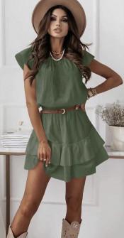 Γυναικείο φόρεμα με ζώνη 5736 χακί
